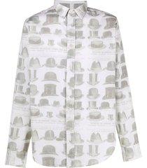 viktor & rolf top hat print long-sleeved shirt - white