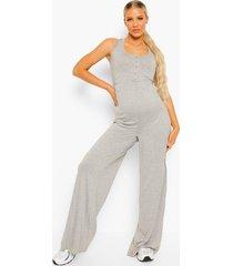 zwangerschap lounge jumpsuit met knopen, grey marl