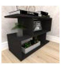 mesa de canto 25x60x50 cm mdf preto tx modelo en4403cn