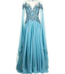 zuhair murad embellished flyaway chiffon cape gown - blue