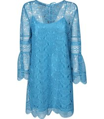 alberta ferretti laced short dress