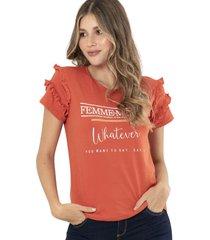 camiseta femme café ragged pf51120541