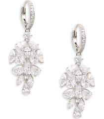adriana orsini women's rhodium-plated & crystal cluster drop earrings