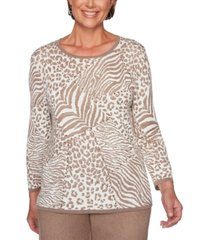 alfred dunner first frost animal-print embellished sweater