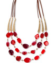 "style & co gold-tone & faux suede red beaded 25"" statement necklace, created for macy's"