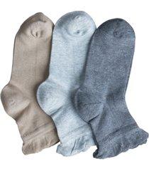 women's silk summer ruffle anklet socks, pack of 3