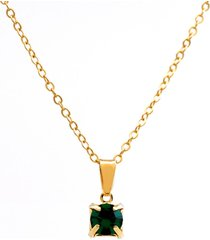 gargantilha horus import ponto luz banhado ouro amarelo 18 k - 1060158 - verde esmeralda