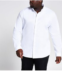 river island mens big & tall white oxford slim fit shirt