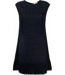 charlott tweed fringe dress - black