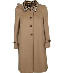 miu miu embellished collar coat