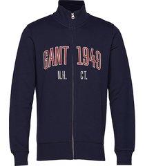 d1. graphic full zip cardigan sweat-shirt trui blauw gant