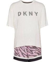 dkny urban jungle tee, boxer & eyemask pyjama roze dkny homewear
