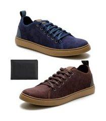 kit 2 sapatênis casual masculino com carteira azul/marrom