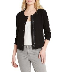 women's nic+zoe fall nights crop knit jacket, size small - black