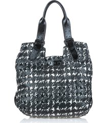 alexander mcqueen houndstooth leather tote bag black, white sz: e