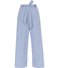 by any other name tie-waist wide leg trousers - blue