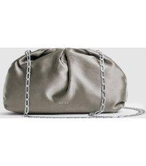 reiss ellena - satin pouch clutch in grey, womens