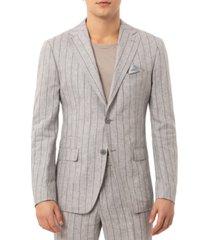 tallia men's slim-fit wide stripe light gray linen suit separate jacket