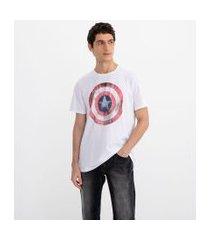 camiseta manga curta com estampa marvel capitão américa | avengers | branco | pp