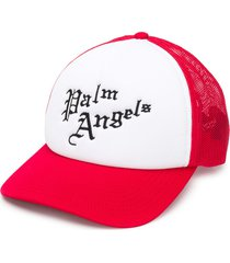 palm angels logo-embroidered trucker hat