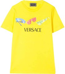 young versace yellow teen t-shirt with frontal print