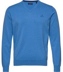 classic cotton v-neck stickad tröja v-krage blå gant