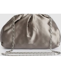 reiss ellena - satin pouch clutch in silver, womens