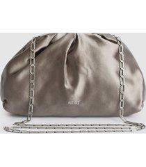 reiss ellena - satin pouch clutch in silver, womens
