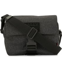 bally logo-appliqué messenger bag - grey