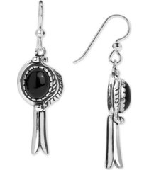 american west black agate (8 x 10mm) drop earrings in sterling silver