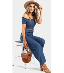 emorie smocked off the shoulder jumpsuit - chambray