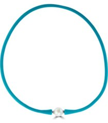 effy cultured fresh water pearl (11mm) rubber necklace in light blue, turquoise or pink