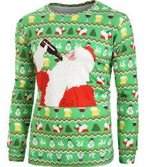 christmas santa drink pattern print long sleeve sweatshirt