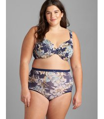 lane bryant women's smooth lightly lined full coverage bra 46c navy blissful blooms