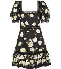 alice+olivia wylie square neck mini dress - black