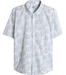 camisa hojas palmeras color blanco, talla l
