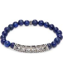 saks fifth avenue men's sterling silver & lapis beads bracelet