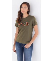 camiseta gráfica floral