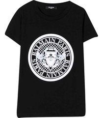 balmain black t-shirt with frontal logo