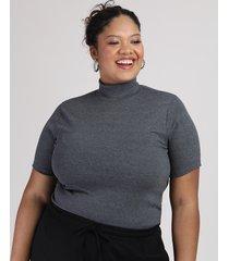 blusa feminina plus size canelada manga curta gola alta chumbo
