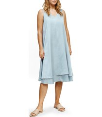 women's eileen fisher v-neck tiered silk & organic cotton dress