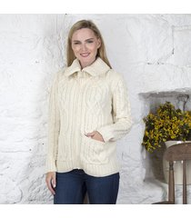ladies double collar zipped cardigan cream large
