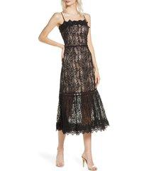 women's bb dakota scalloped lace midi dress, size 10 - black