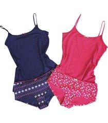 womens ladies red / navy cotton night pajama cami camisole and panty panties set