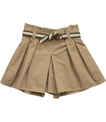 brunello cucinelli crispy cotton gabardine mini skirt-pants with belt and monili