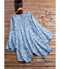 camicetta a maniche lunghe irregolare patchwork stampa foglie per donna