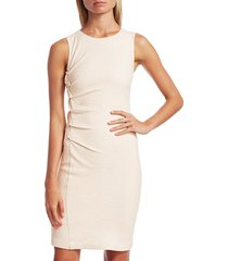 halston women's sleeveless tweed sheath dress - bone - size xl