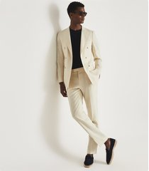 reiss villa - wool double breasted blazer in white, mens, size 46