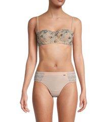 la perla women's altea wired lace bralette - nude - size 36 c
