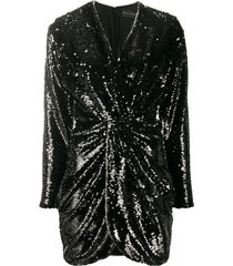 dundas twisted sequin dress - black